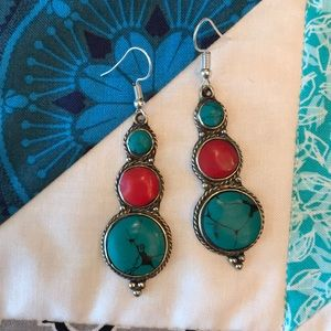 Tiebetan Turquoise/Red Coral Earrings